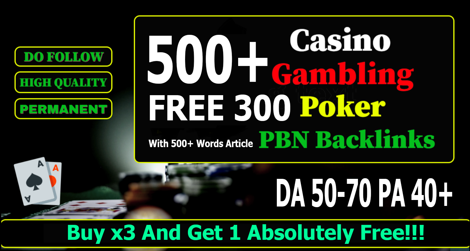Get 800 casino/gambling/poker/judi Web 2.0 PBN Dofollow Backlinks DA 50+ PA 40+ Blog