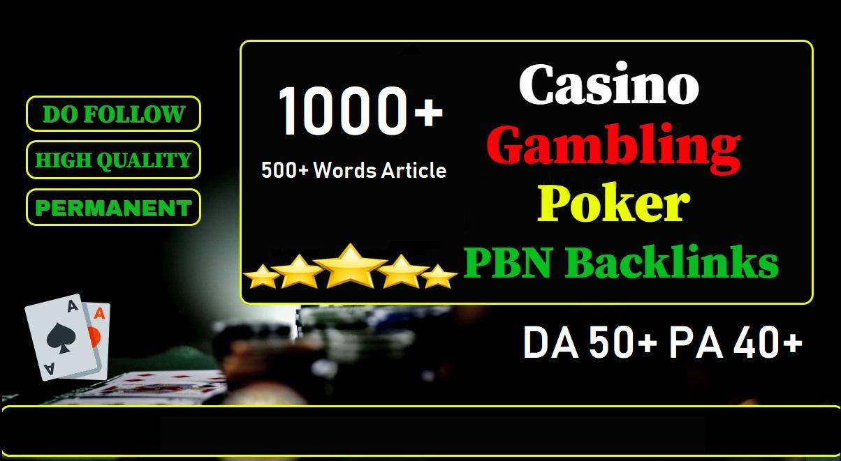 Get 1000 casino/gambling/poker/judi Web 2.0 PBN Dofollow Backlinks DA 50+ PA 40+ Blog