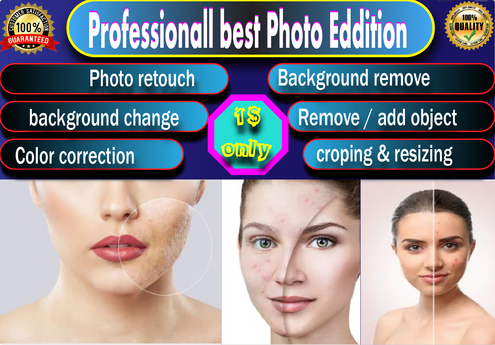 I will do 5 Photo retouching and Professionally photo edit within 12 hours