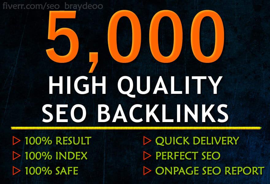 Provide 5000 SEO backlinks,  to website improving