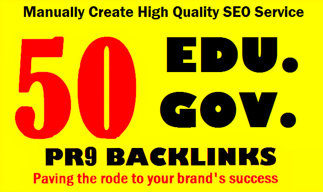 Give you 50 pr9, edu with high trust authority safe SEO link building backlinks