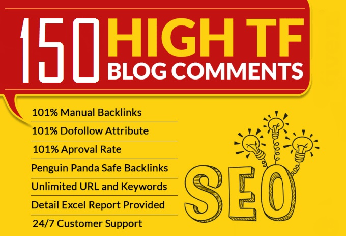 I will do 150 manual blog comments backlink high tf