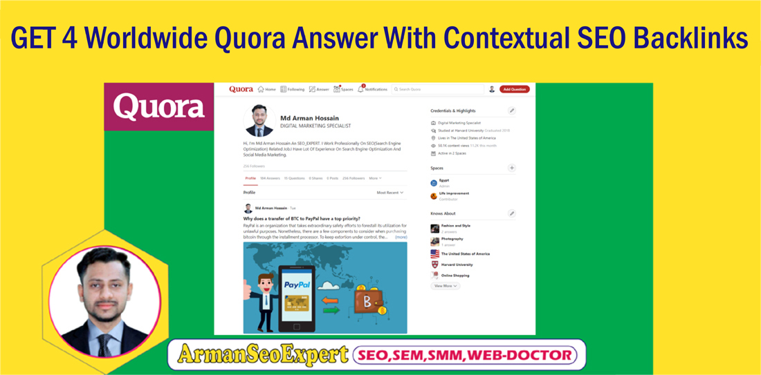 GET 4 Worldwide Quora Answer With Contextual SEO Backlinks