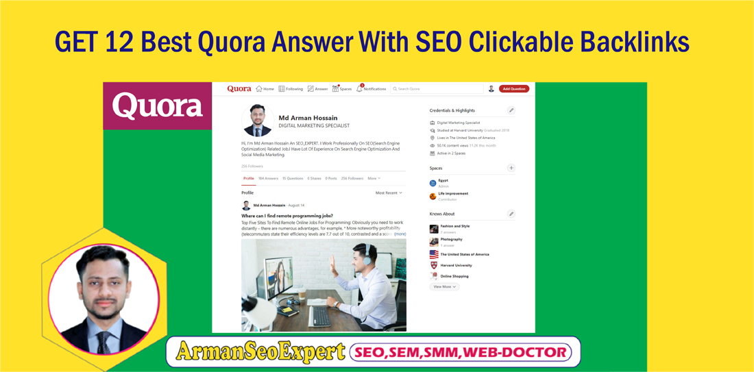 GET 12 Best Quora Answer With SEO Clickable Backlinks