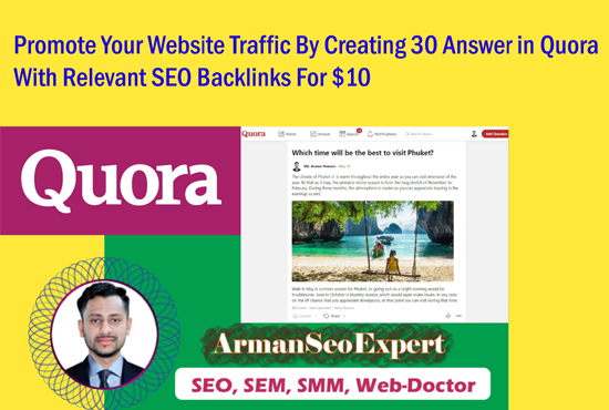Promote Your Website Traffic By Creating 30 Answer in Quora With Relevant SEO Backlinks