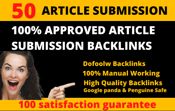 I will do 50 unique article Submission contextual backlinks for google rank