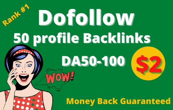 I will do 50 high da pr9 profile backlinks manually SEO ranking