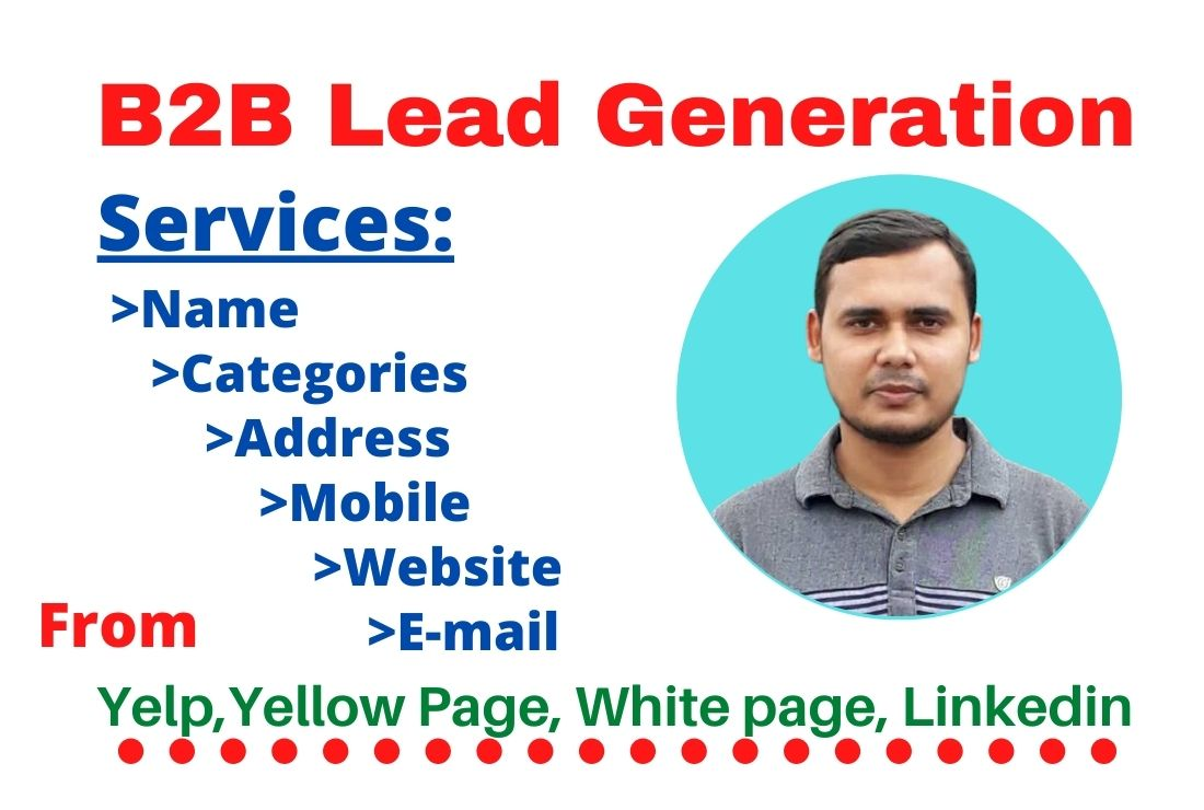 I will do b2b lead generation targeted email list, web scraping and web Research 10 leads