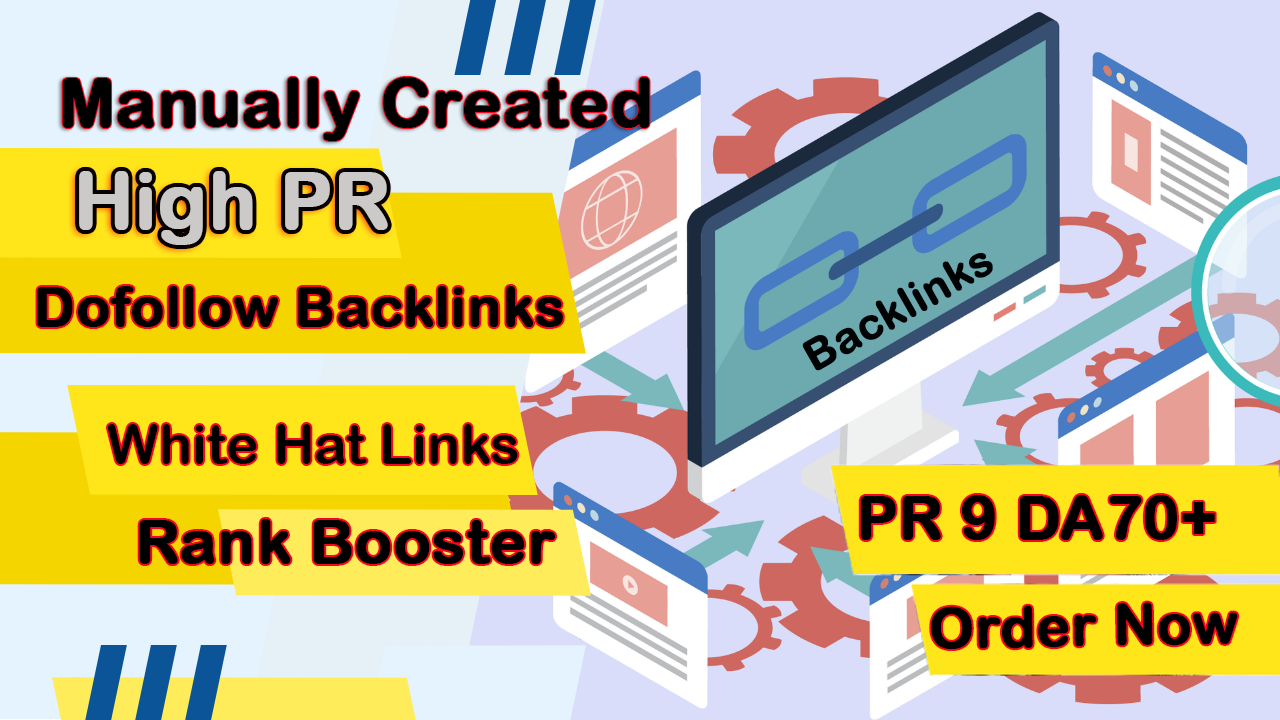 I will create 20 white hat high pr DA70+ dofollow backlinks