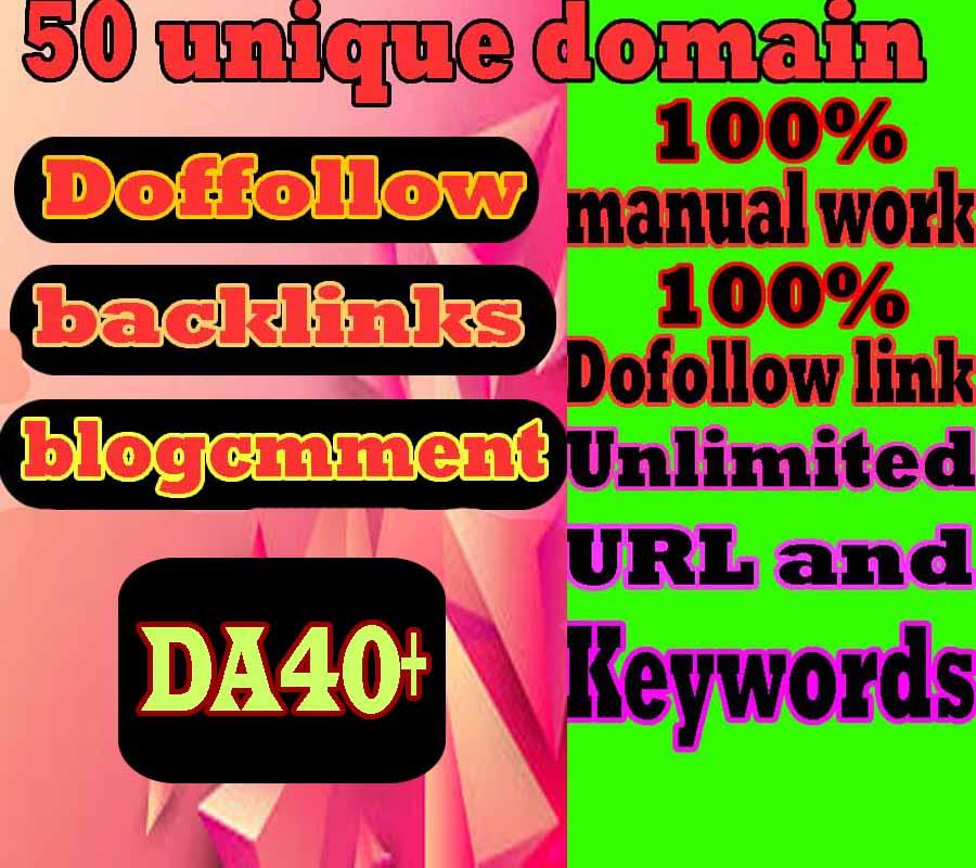 I Will Create 50 Unique Domain Manual Blog Comment backlinks DA 40+