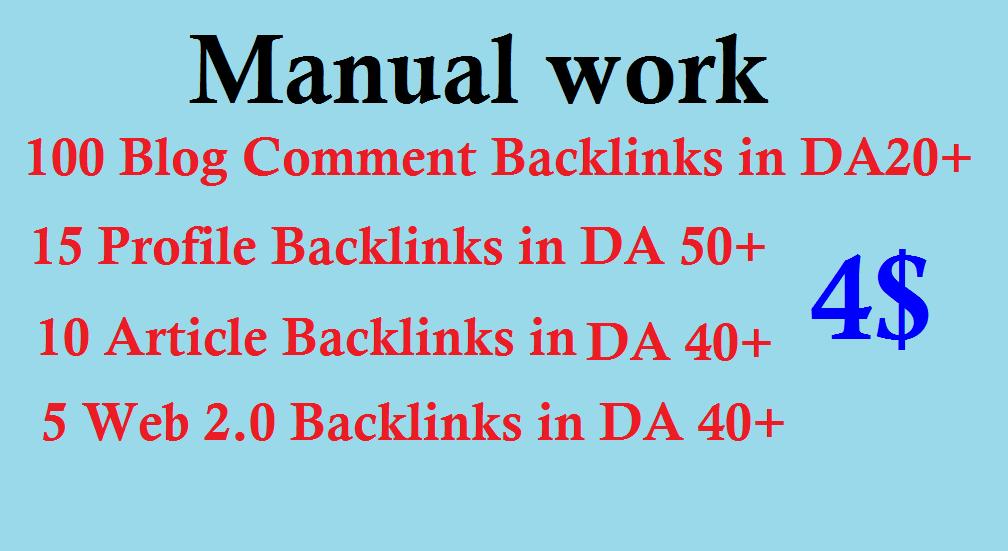SEO Package 100 Blog Comment,  15 Profile Backlinks,  10 Article Backlinks,  5 Web 2.0 Backlinks