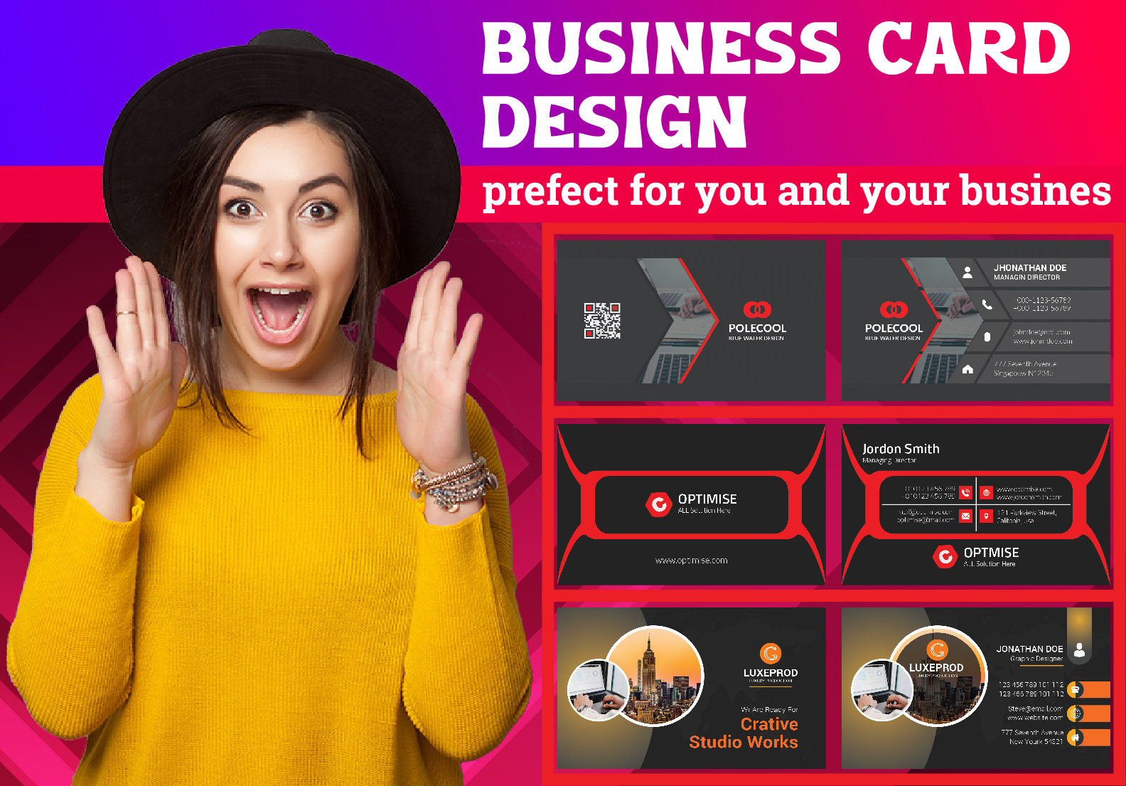 I will design unique double sided business card print ready files