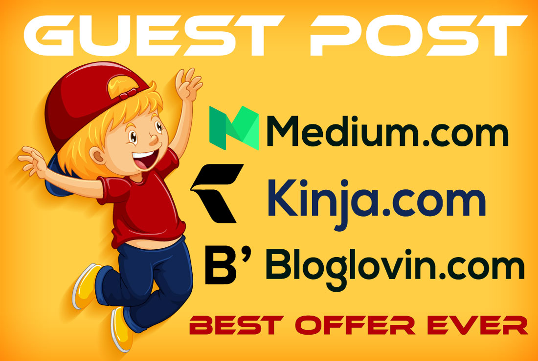 I will write and publish 3 high da guest post services