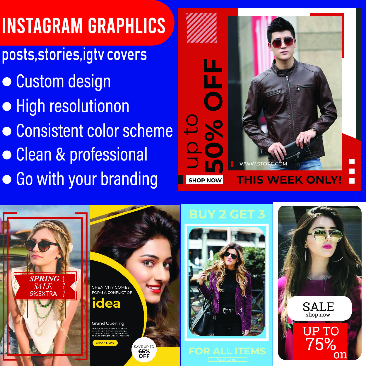 I will design social media posts for facebook and instagram