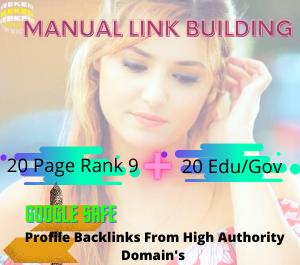 High Pr SEO Authority Backlinks 20 Pr9 + 20 Edu - Gov
