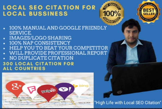 I will do 30 local SEO citation,  maps listing, google my business and directory submissions