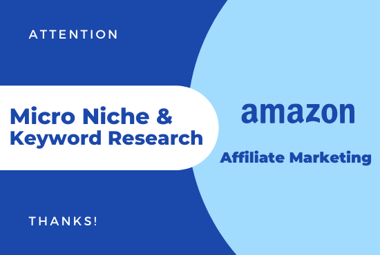 I will find micro niche and do keyword research for amazon affiliate