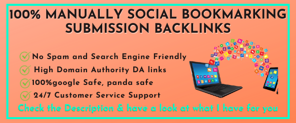 Manually 100 Social Bookmarking Submission with High-Quality Backlinks
