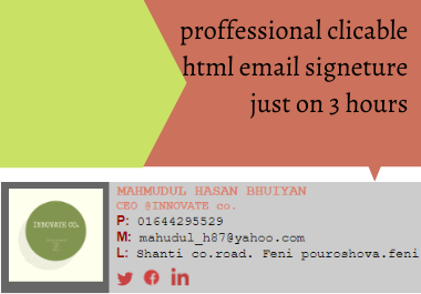 I will create a clickable Html email signature for Gmail,  yahoo,  outlook etc.