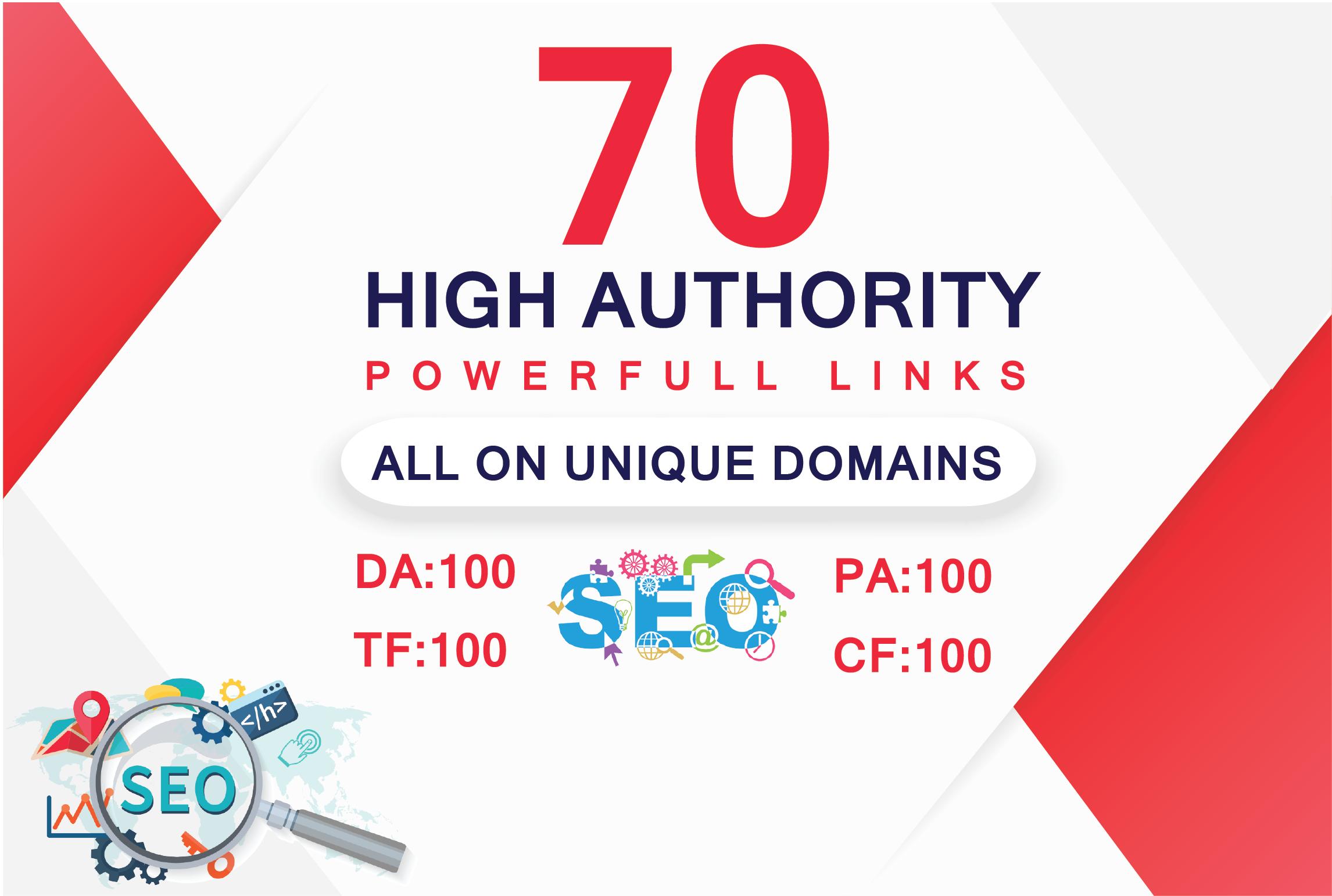 Build 70 Mix Property UNIQUE DOMAIN Backlinks On DA 100- 35 TF 100- 35 Sites