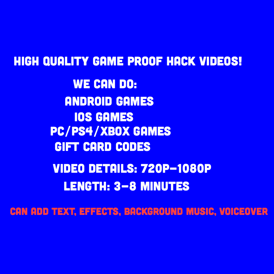 HQ Game Hack Proof Videos CPA Video Proof