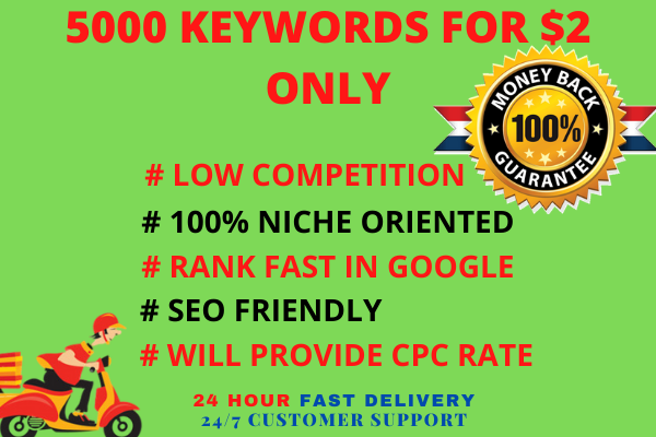 i will provide 5000 best keywords for your niche in 1 day