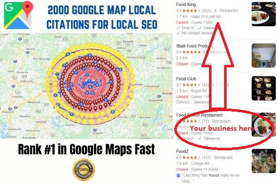I will create 2000 google map local citations for local business