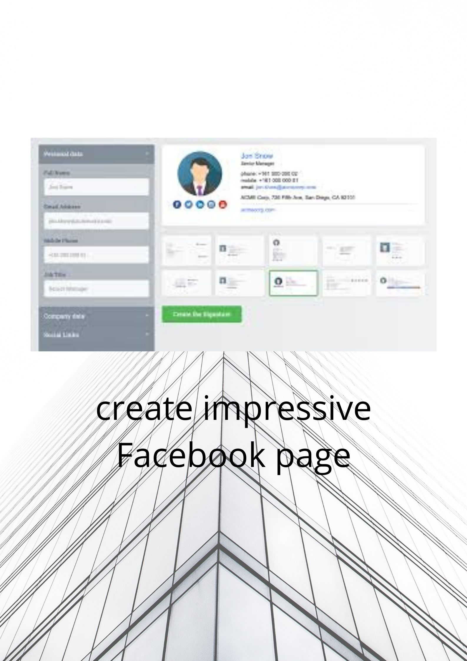 I will Create a impressive Facebook, Twitter, Instragram, Linkdin,  Business page.