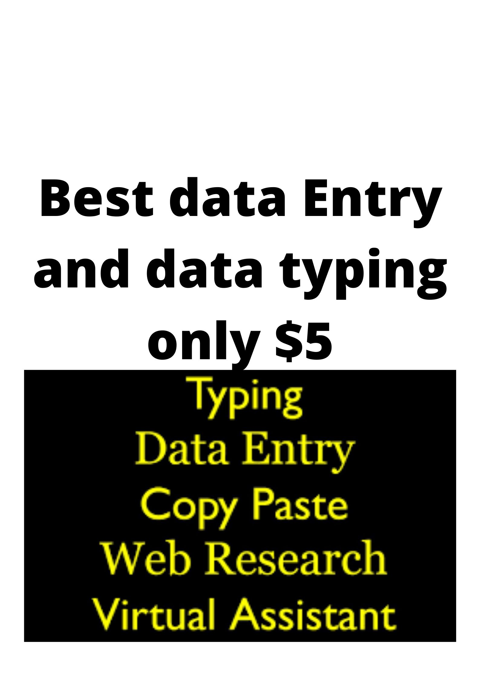 Best data Entry and data typing and editing