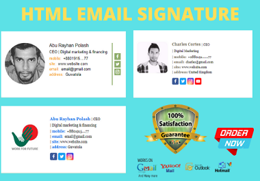I will create HTML clickable email signature for gmail,outlook and yahoo.
