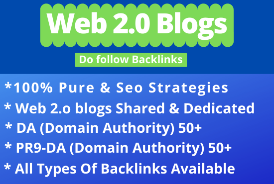 built high authority web 2 0 backlinks