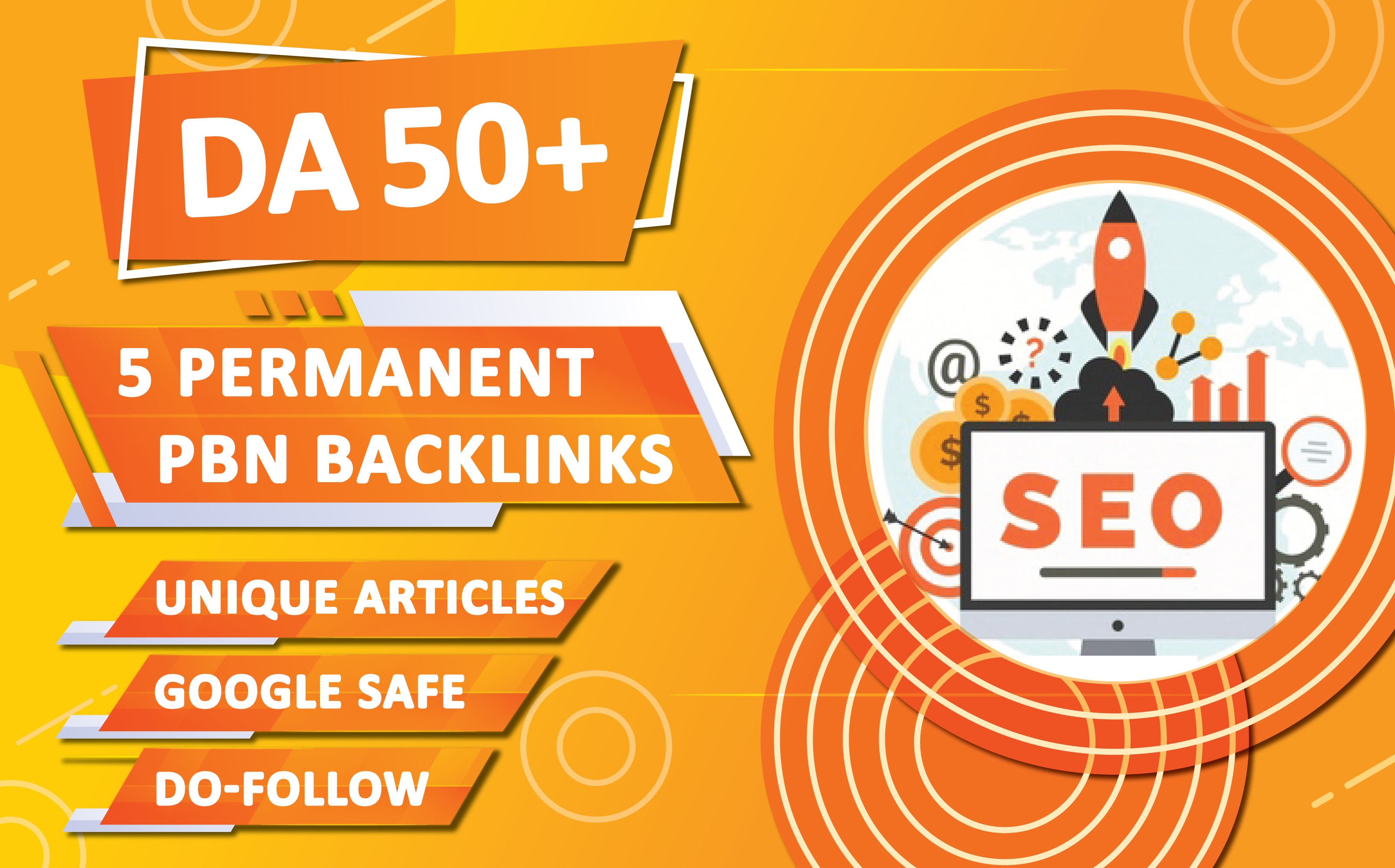 5 Permanent PBN backlinks DA 50+