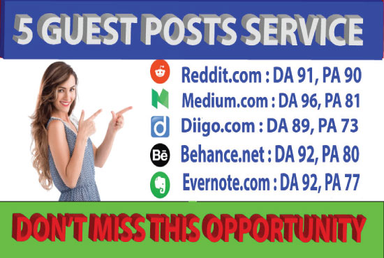 I will write and publish 5 guest on High Aurthority sites