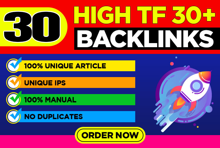 I will build 30 high tf cf high quality dofollow backlinks for seo