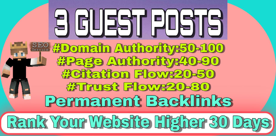 High Traffic DA 90+ Sites With permanent backlinks on I will write & Publish 3+ Guest Posts