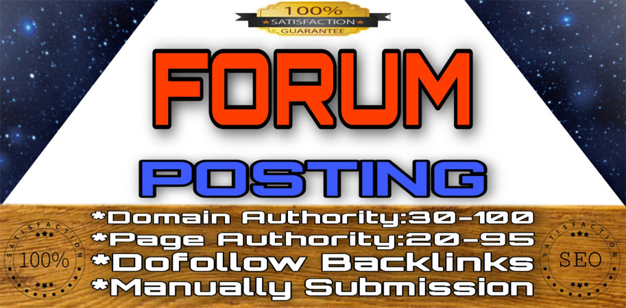 40 High DA,  PA DoFoIIow Forum Posting Backlinks,  Good quality & Manually work