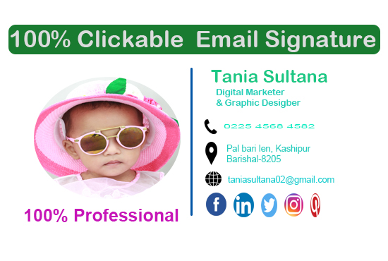 I will provide clickable Professional email signature