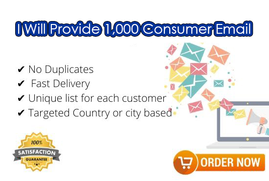 I will provide 1000 Consumer Email for your business