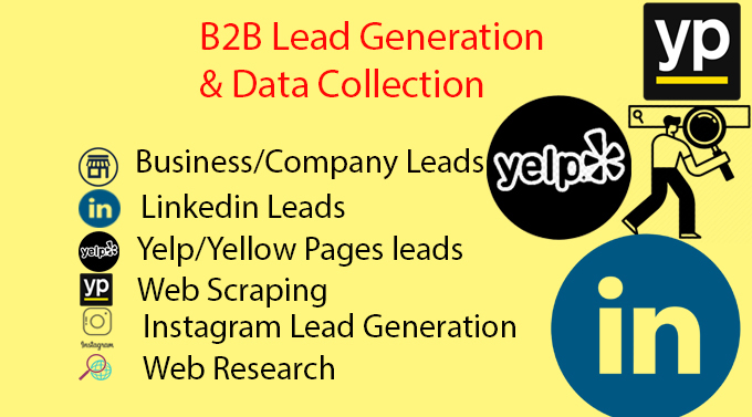 I will do b2b lead generation,  b2b linkedin lead generation,  data entry,  web research