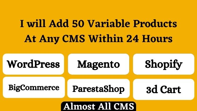 I will add 25 variable products to your wordpress woocommerce or any ecommerce website