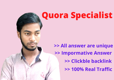 I will do 25+ Attractive Quora Answer to promote Your Website by Creating do follow backlink