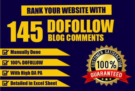 I will do 145 manual dofollow blog comment backlink with high da pa