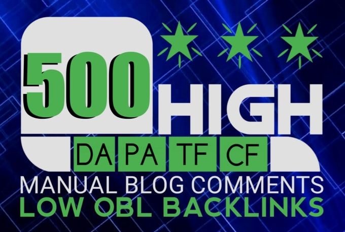I will do 500 manual dofollow blogcomment backlinks with high tf cf da pa