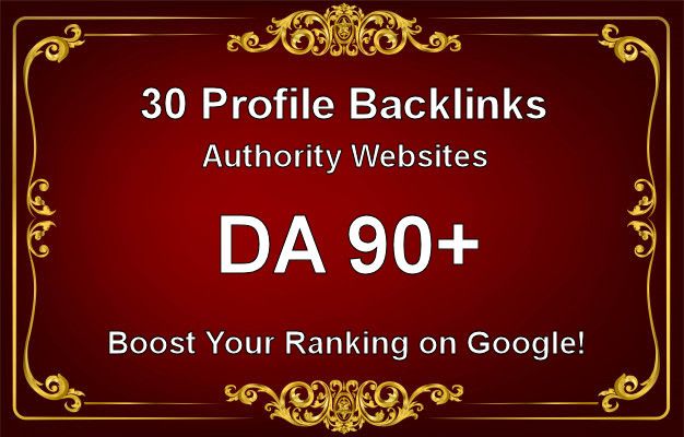 I will create 30 profile backlinks with a high authority site