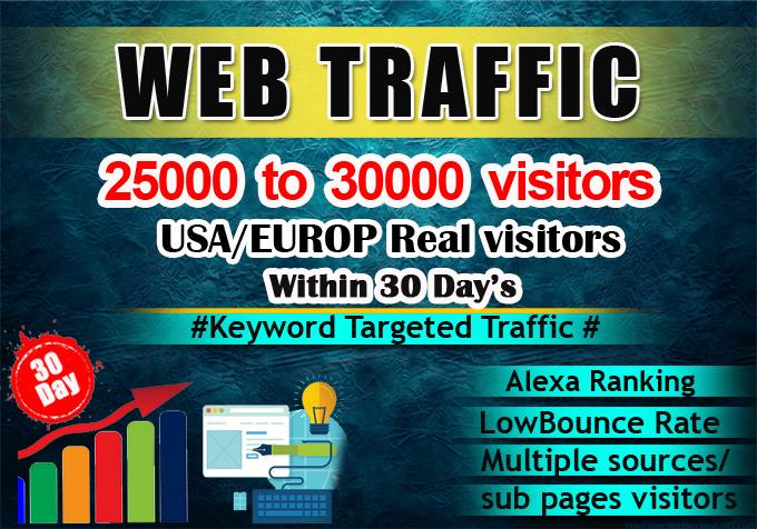 I will send real organic keyword target website traffic from usa.
