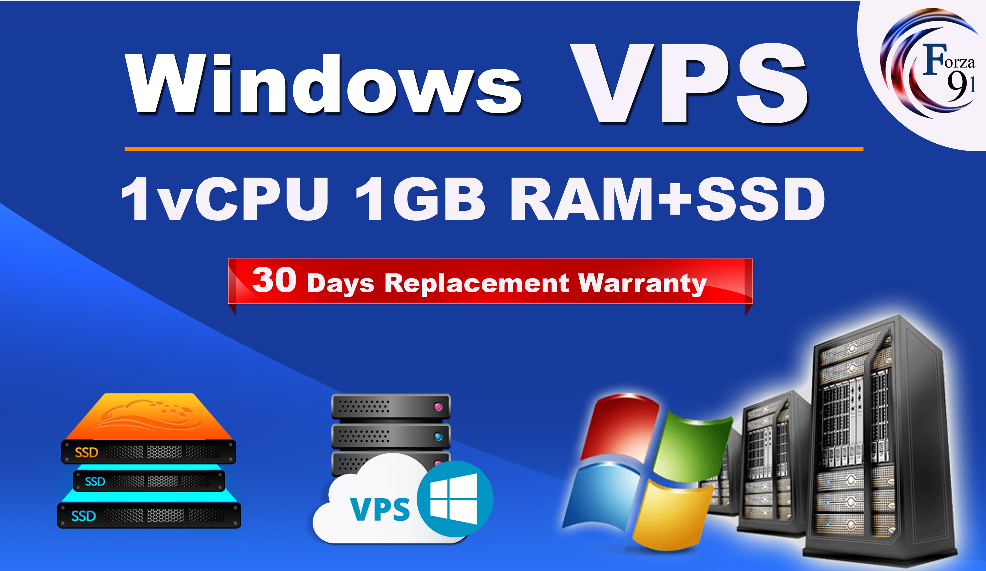 I will setup windows VPS 1vCPU 1Gb with more faster SSD