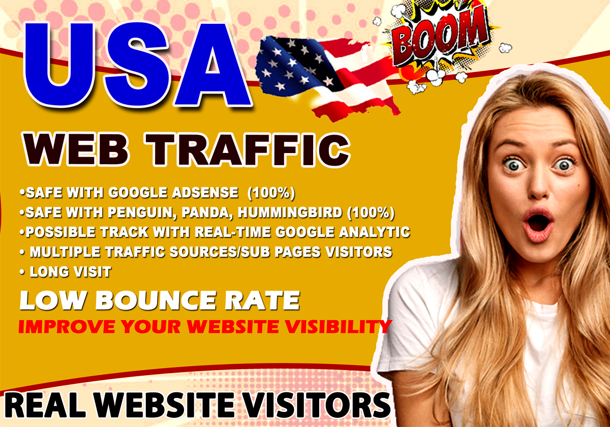 Keyword Targeted USA Web Traffic Organic,  Real,  Human Visitors