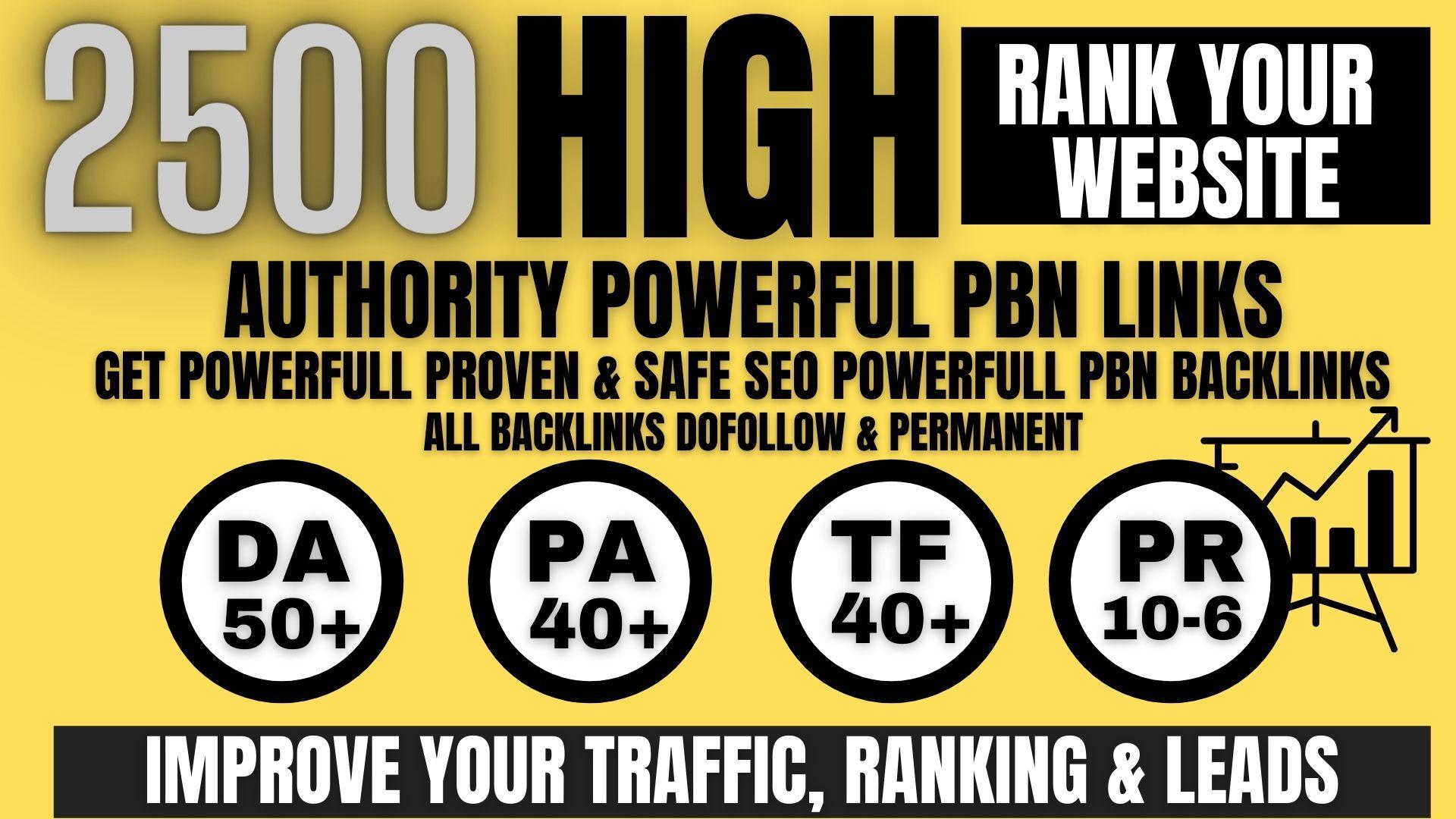 get permanent 2500 Pbn Backlink DA50+PA40+PR6+homepage web 2.0 with do-follow unique site