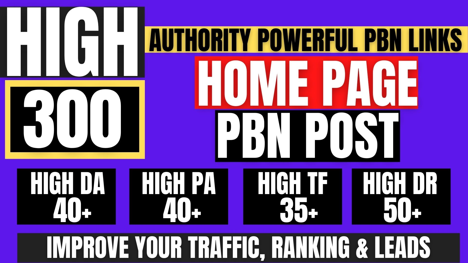 GET 300 Permanent PBN Backlink with High DA/PA CF/TF on your Homepage with unique Website