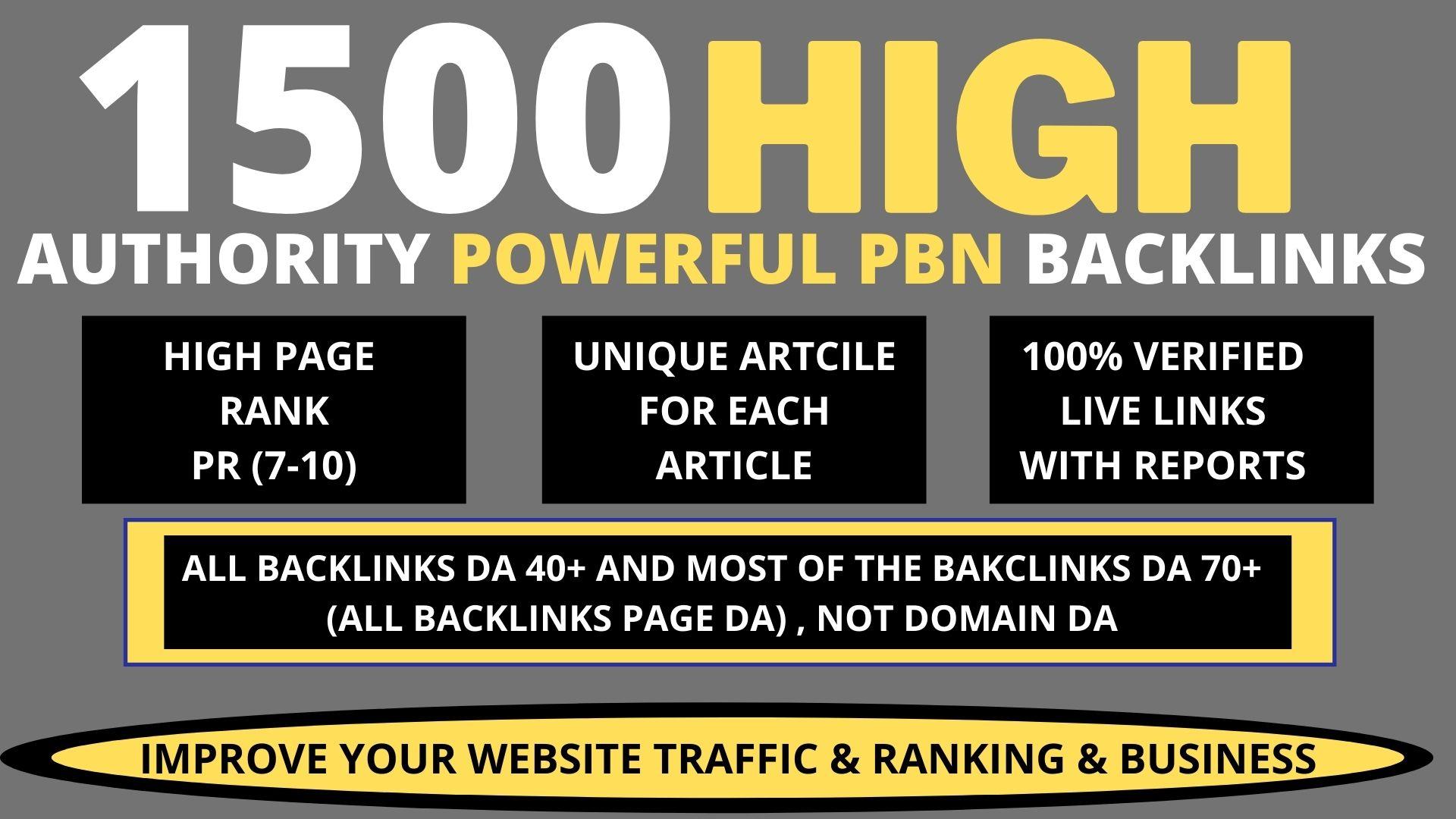 Build Premium 1500 PBN & WEB 2.0 Backlink with Permanent Dofollow & High DA 40 TO 90 PA TF CF